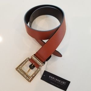 Berge leather belt with bling buckle small